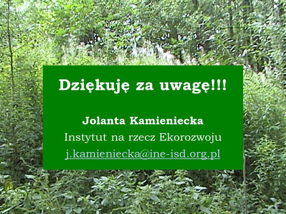 Dziękuję za uwagę!!! Jolanta Kamieniecka Instytut na rzecz Ekorozwoju j.kamieniecka@ine-isd.org.pl