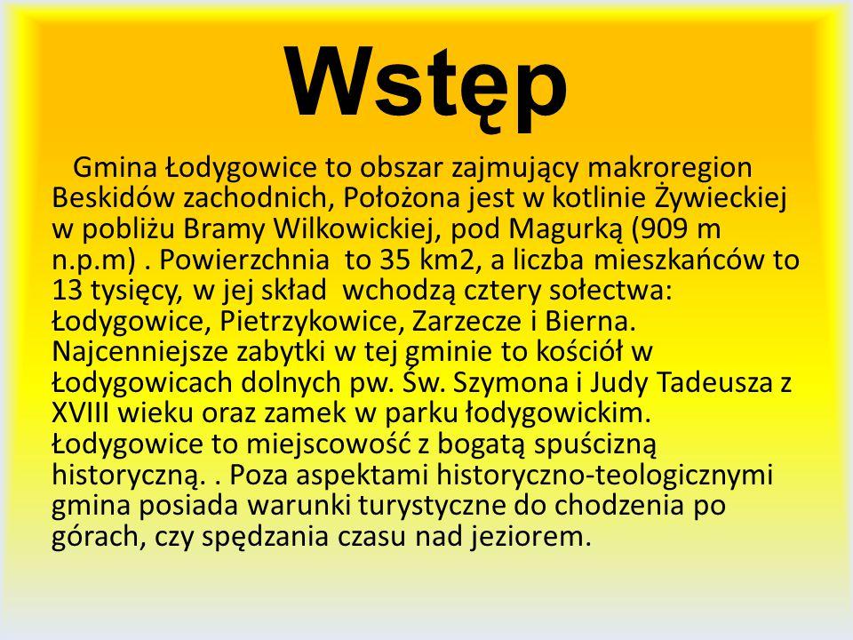 Wstęp Gmina Łodygowice to obszar zajmujący makroregion Beskidów zachodnich, Położona jest w kotlinie Żywieckiej w pobliżu Bramy Wilkowickiej, pod Magu