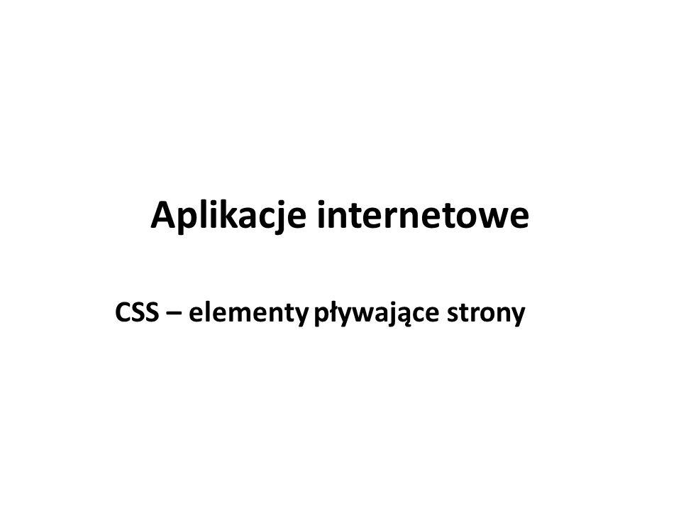 Aplikacje internetowe CSS – elementy pływające strony