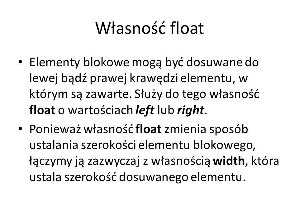 Własność float Elementy blokowe mogą być dosuwane do lewej bądź prawej krawędzi elementu, w którym są zawarte.