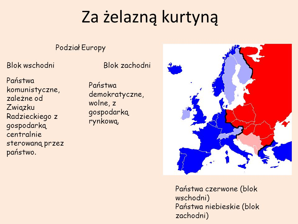 Za żelazną kurtyną Podział Europy Blok wschodni Blok zachodni Państwa komunistyczne, zależne od Związku Radzieckiego z gospodarką centralnie sterowaną przez państwo.