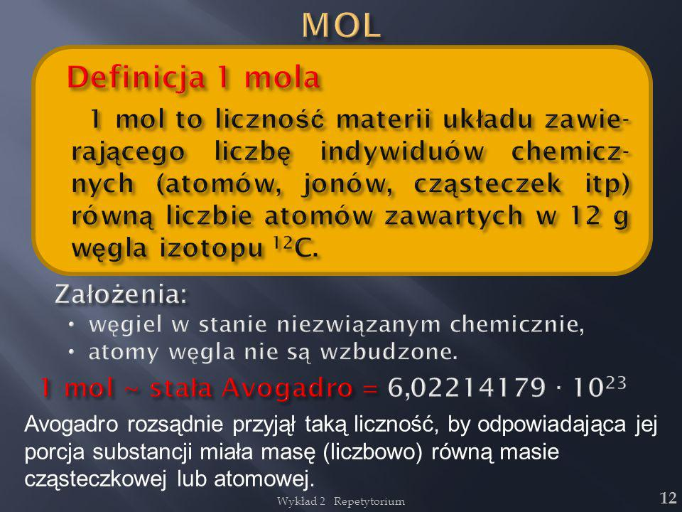 Wykład 2 Repetytorium 12 Avogadro rozsądnie przyjął taką liczność, by odpowiadająca jej porcja substancji miała masę (liczbowo) równą masie cząsteczko