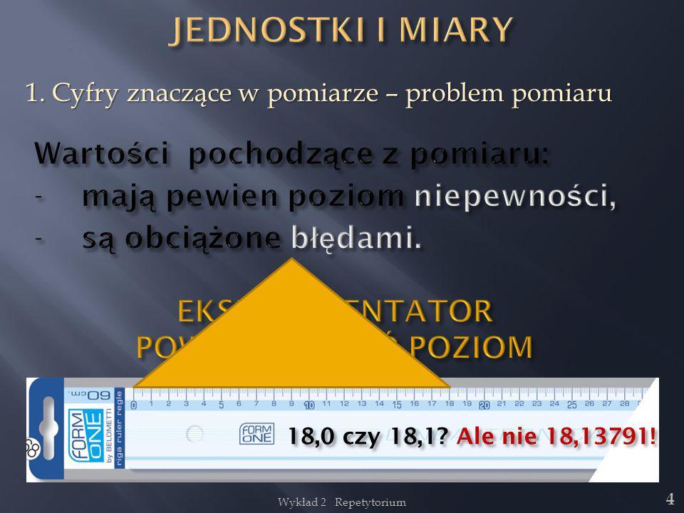 Wykład 2 Repetytorium 4 1. Cyfry znaczące w pomiarze – problem pomiaru 18,0 czy 18,1? Ale nie 18,13791!