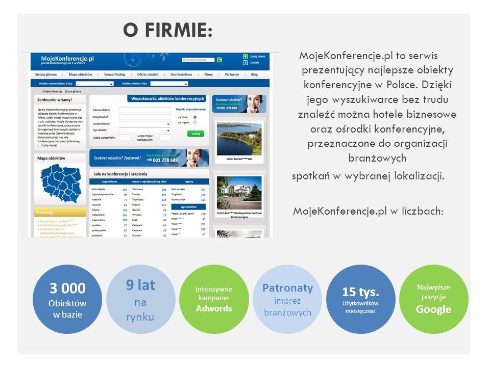 O FIRMIE: MojeKonferencje.pl to serwis prezentujący najlepsze obiekty konferencyjne w Polsce. Dzięki jego wyszukiwarce bez trudu znaleźć można hotele