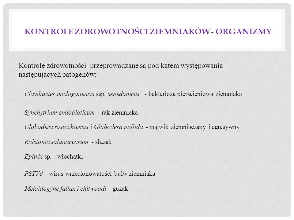 KONTROLE ZDROWOTNOŚCI ZIEMNIAKÓW - ORGANIZMY Clavibacter michiganensis ssp. sepedonicus - bakterioza pierścieniowa ziemniaka Synchytrium endobioticum