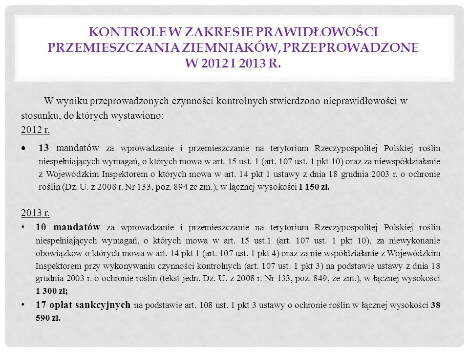 W wyniku przeprowadzonych czynności kontrolnych stwierdzono nieprawidłowości w stosunku, do których wystawiono: 2012 r.  13 mandatów za wprowadzanie