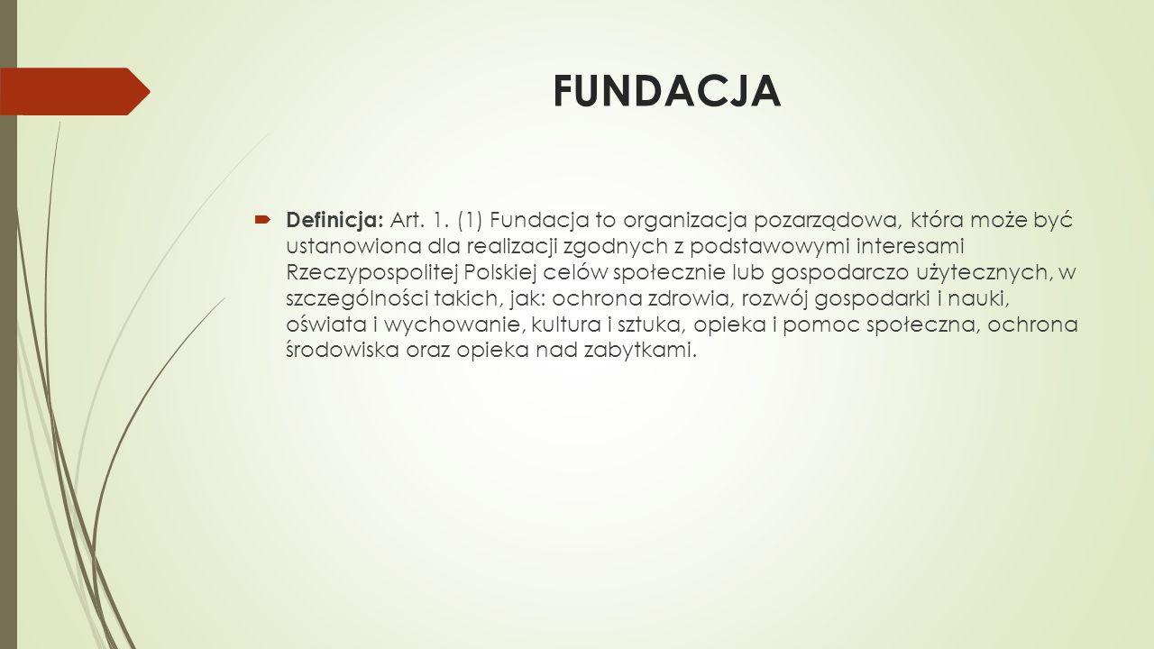 FUNDACJA  Definicja: Art. 1. (1) Fundacja to organizacja pozarządowa, która może być ustanowiona dla realizacji zgodnych z podstawowymi interesami Rz