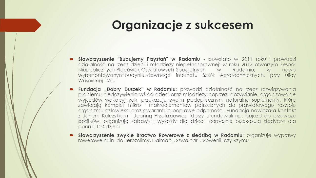 Organizacje z sukcesem  Stowarzyszenie