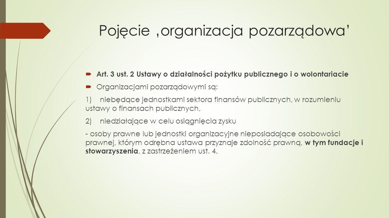 Pojęcie 'organizacja pozarządowa'  Art. 3 ust. 2 Ustawy o działalności pożytku publicznego i o wolontariacie  Organizacjami pozarządowymi są: 1)nieb