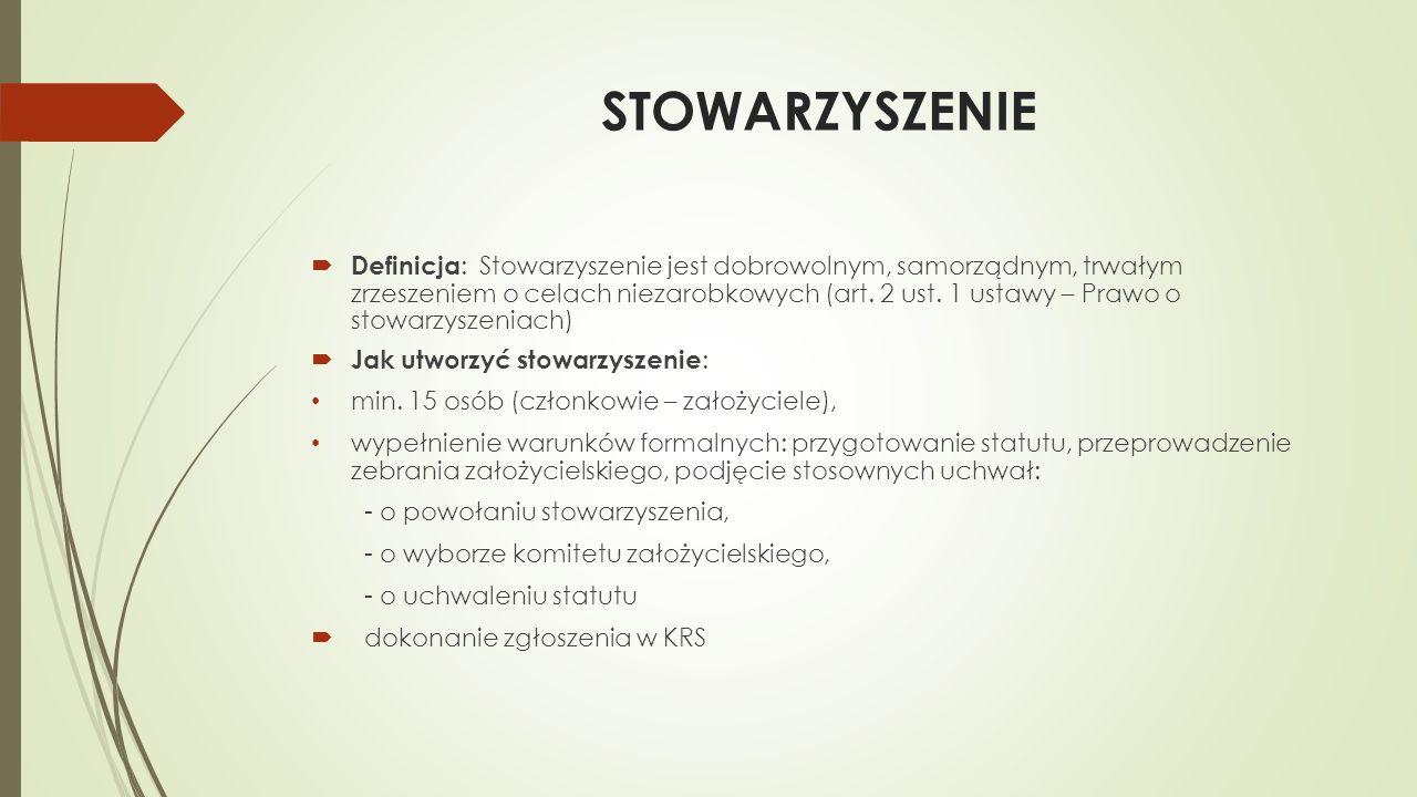 Założyciele i członkowie stowarzyszenia  Założyciele : obywatele polscy, mający pełną zdolność do czynności prawnych (osoby, które ukończyły 18 lat i nie są ubezwłasnowolnione), nie pozbawione praw publicznych, a także cudzoziemcy mający miejsce zamieszkania w Polsce  Członkowie : -obywatele polscy, mający pełną zdolność do czynności prawnych (osoby, które ukończyły 18 lat i nie są ubezwłasnowolnione), nie pozbawione praw publicznych -małoletni poniżej 16 lat, jeśli wyrażą na to zgodę jego przedstawiciele ustawowi (np.