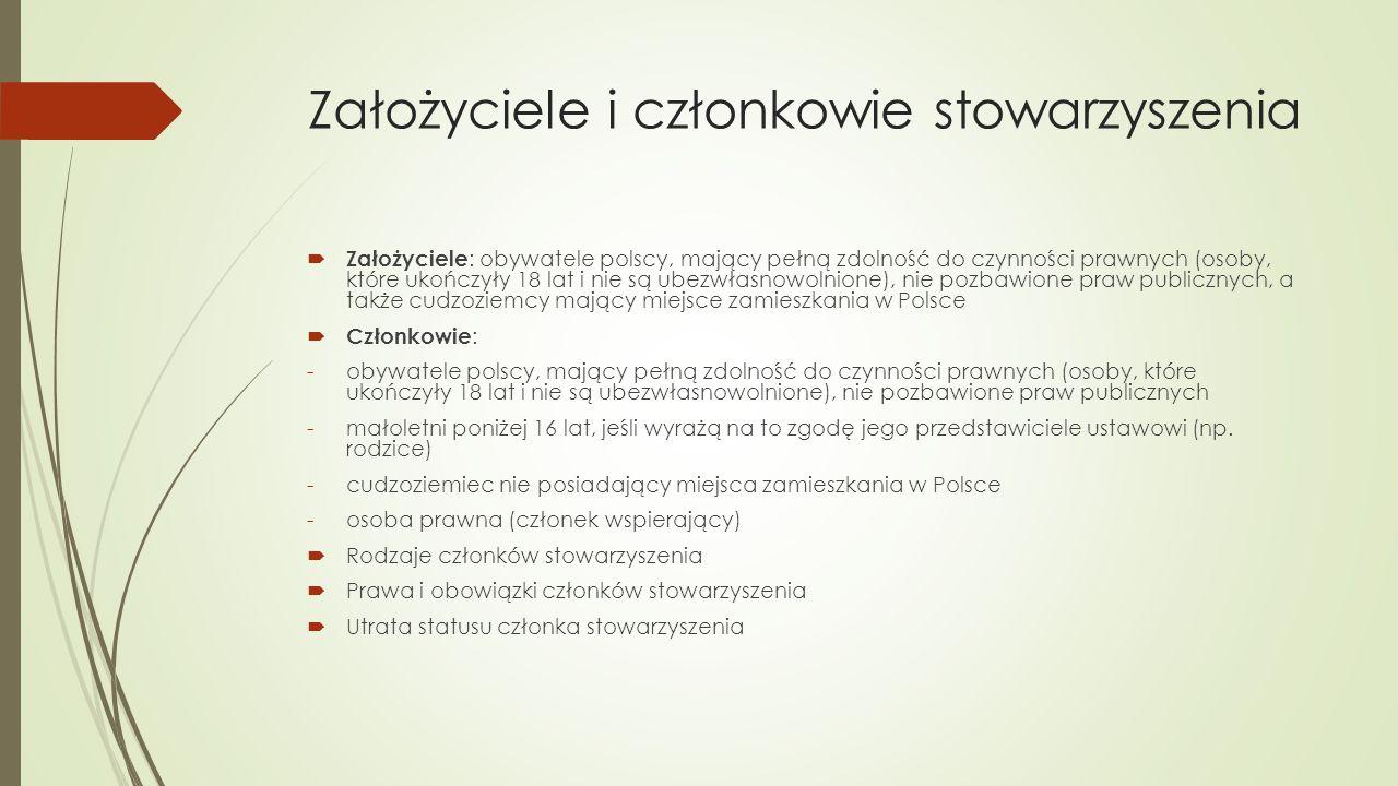 Założyciele i członkowie stowarzyszenia  Założyciele : obywatele polscy, mający pełną zdolność do czynności prawnych (osoby, które ukończyły 18 lat i