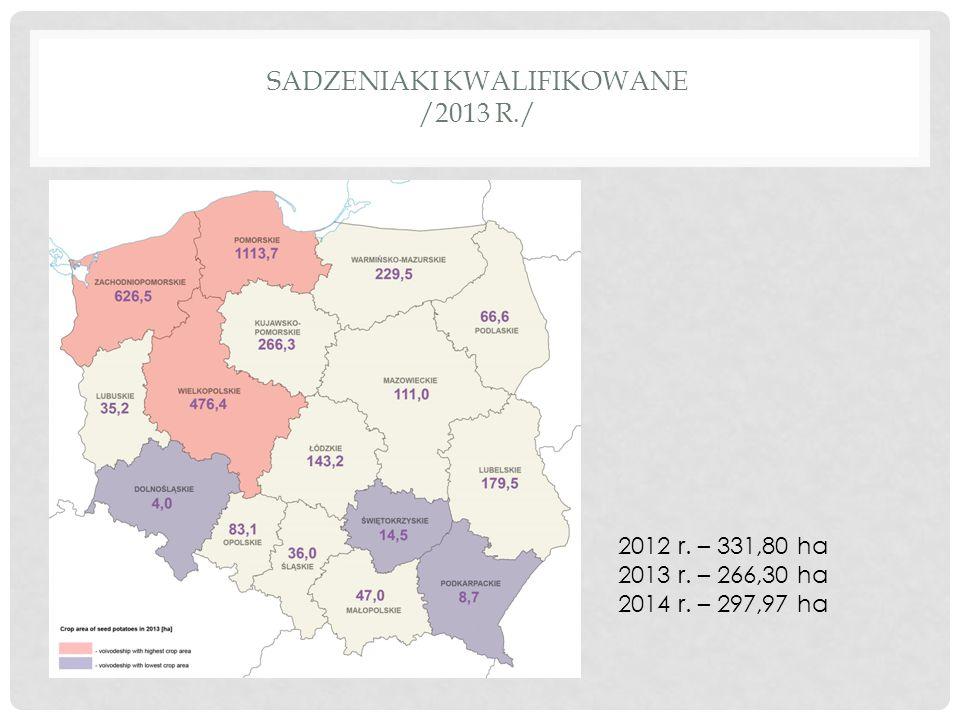 SADZENIAKI KWALIFIKOWANE /2013 R./ 2012 r. – 331,80 ha 2013 r. – 266,30 ha 2014 r. – 297,97 ha