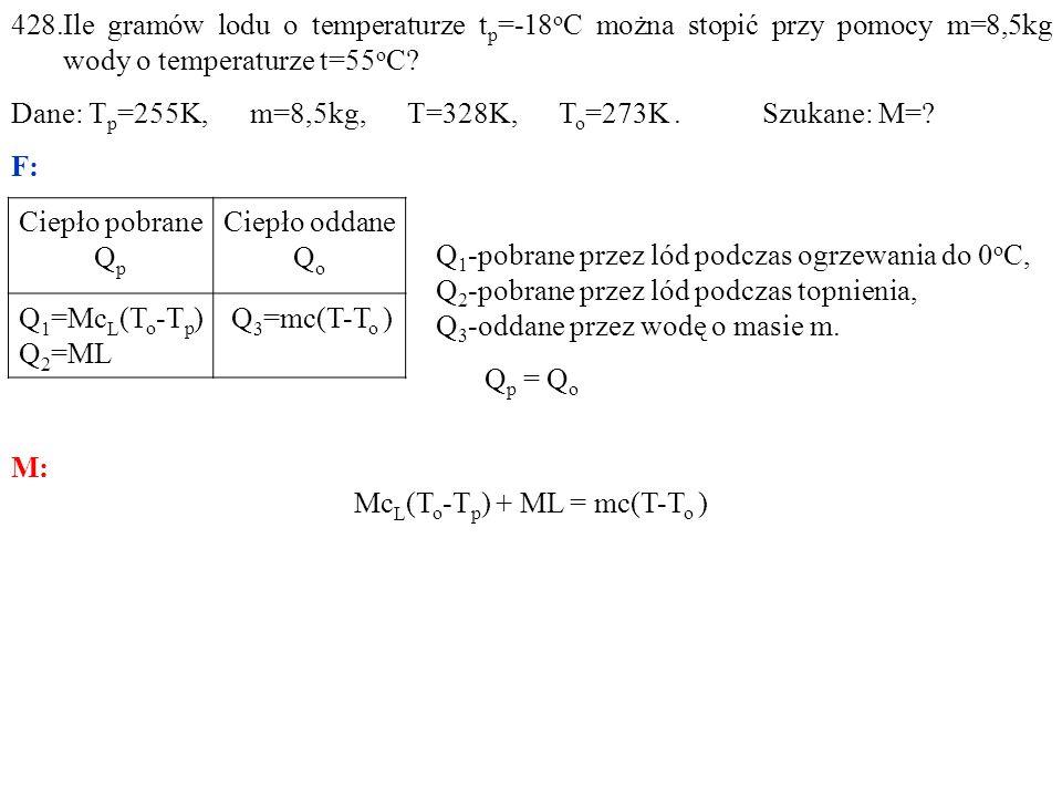 428.Ile gramów lodu o temperaturze t p =-18 o C można stopić przy pomocy m=8,5kg wody o temperaturze t=55 o C.