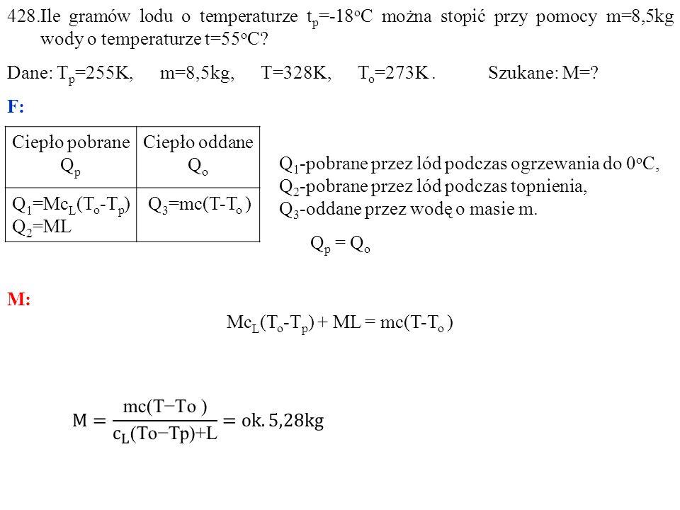 Ciepło pobrane Q p Ciepło oddane Q o Q 1 =Mc L (T o -T p ) Q 2 =ML Q 3 =mc(T-T o )