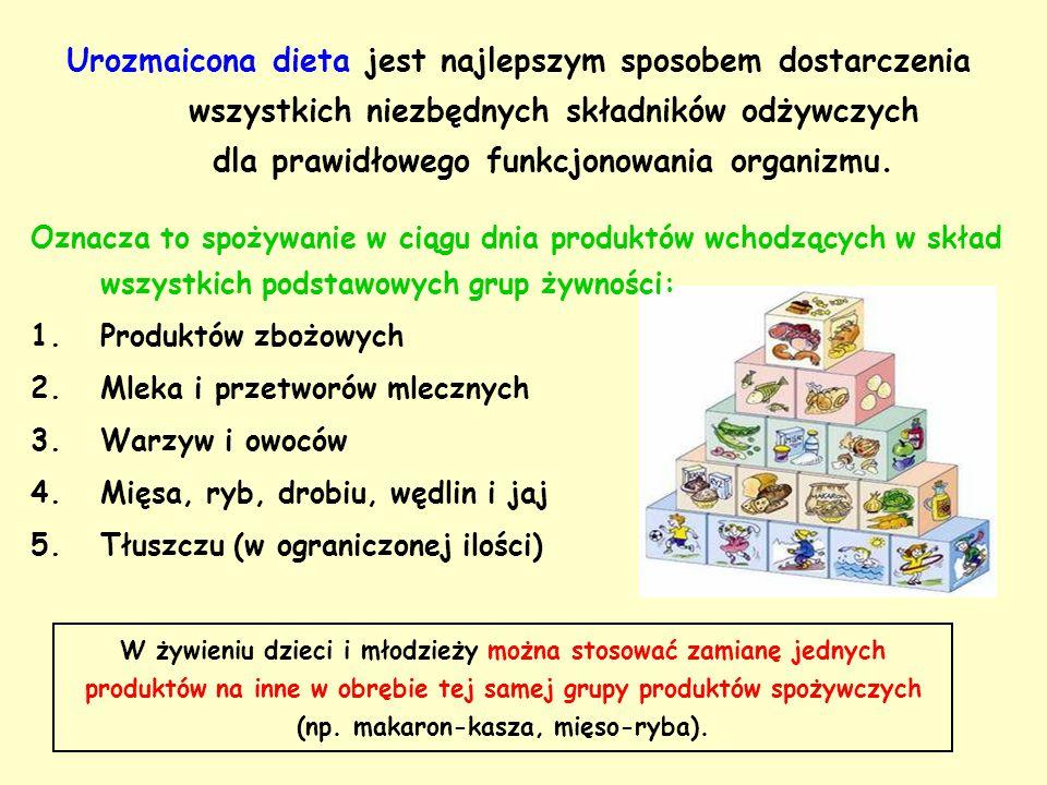 Urozmaicona dieta jest najlepszym sposobem dostarczenia wszystkich niezbędnych składników odżywczych dla prawidłowego funkcjonowania organizmu. Oznacz