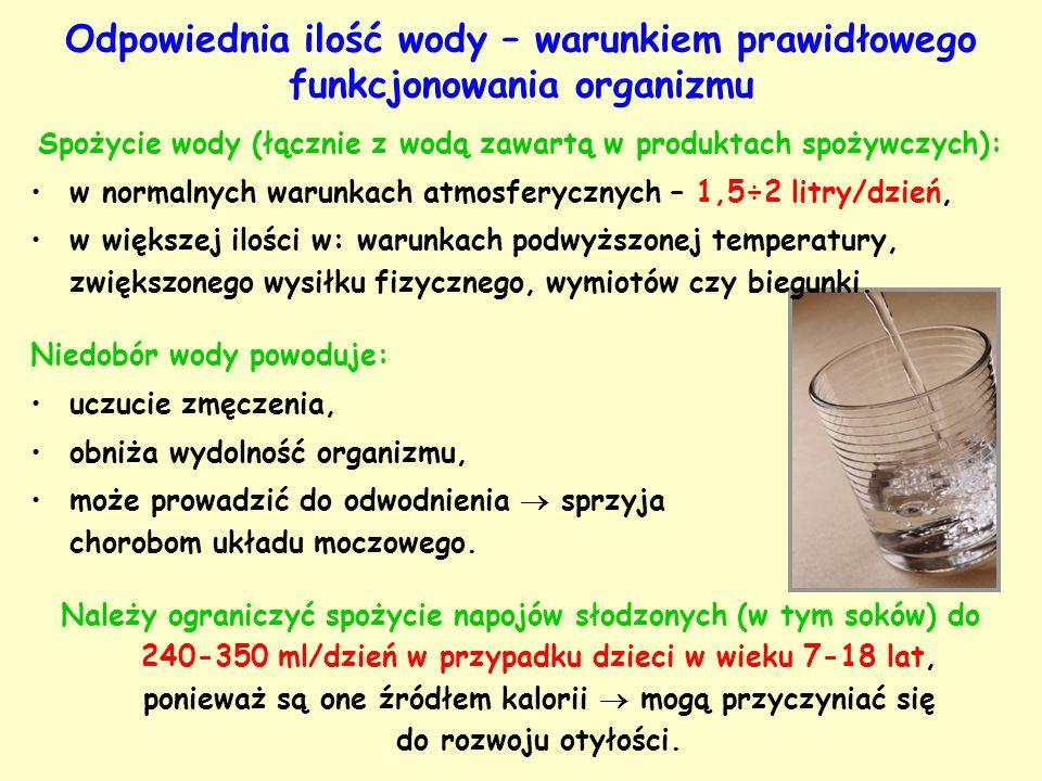 Spożycie wody (łącznie z wodą zawartą w produktach spożywczych): w normalnych warunkach atmosferycznych – 1,5÷2 litry/dzień, w większej ilości w: waru