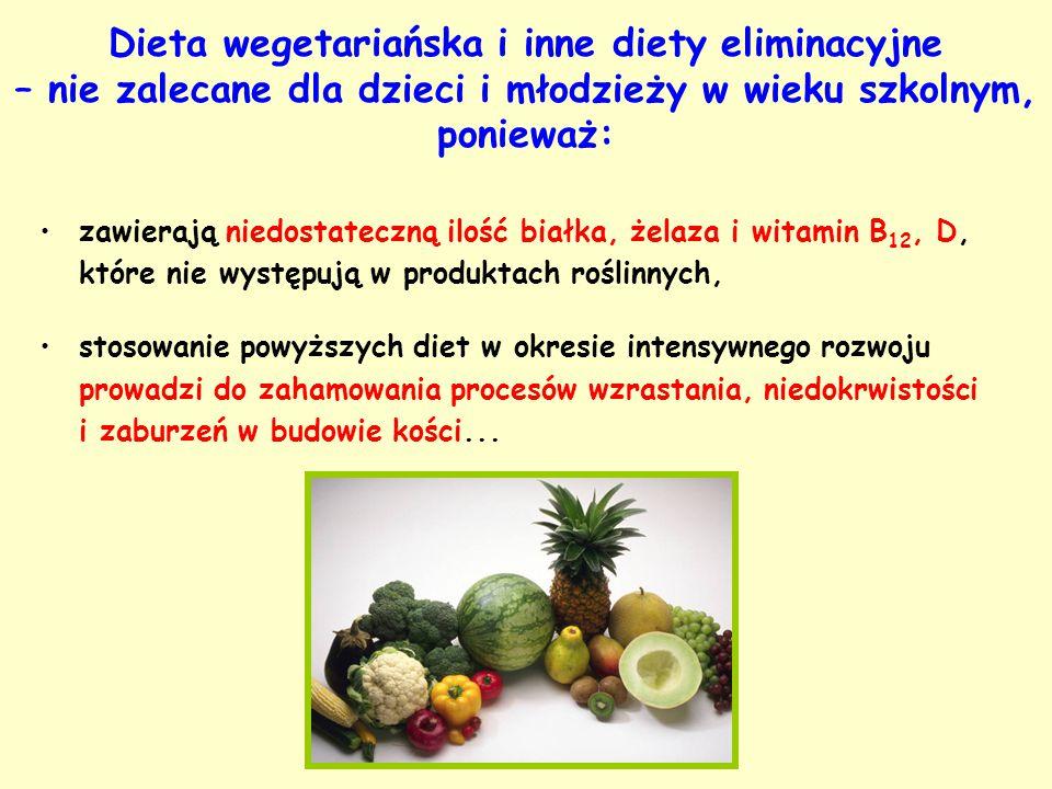 Dieta wegetariańska i inne diety eliminacyjne – nie zalecane dla dzieci i młodzieży w wieku szkolnym, ponieważ: zawierają niedostateczną ilość białka,