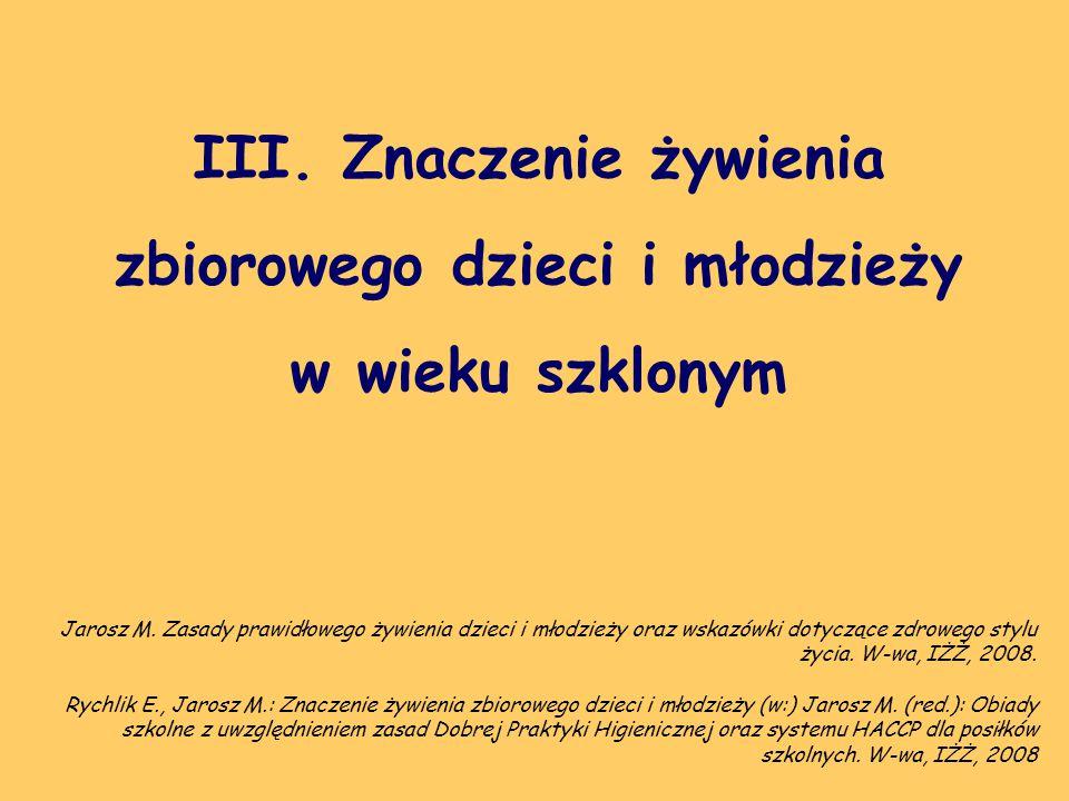 III. Znaczenie żywienia zbiorowego dzieci i młodzieży w wieku szklonym Rychlik E., Jarosz M.: Znaczenie żywienia zbiorowego dzieci i młodzieży (w:) Ja