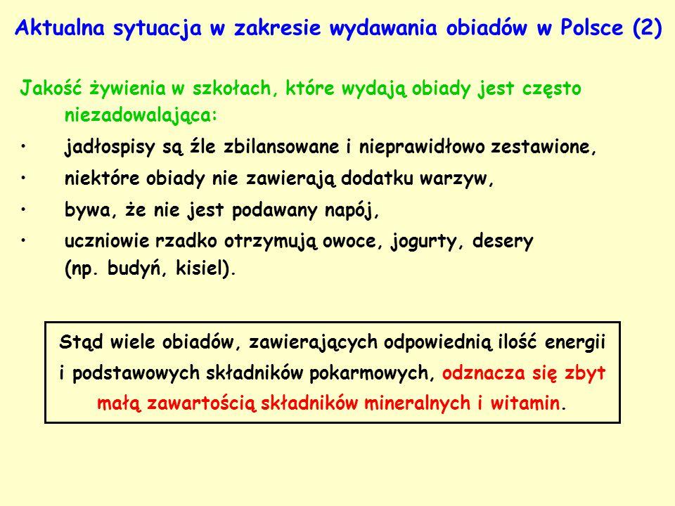 Aktualna sytuacja w zakresie wydawania obiadów w Polsce (2) Jakość żywienia w szkołach, które wydają obiady jest często niezadowalająca: jadłospisy są