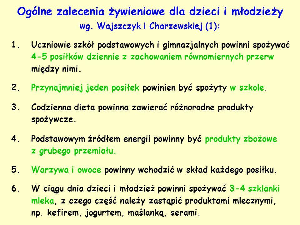 Ogólne zalecenia żywieniowe dla dzieci i młodzieży wg. Wajszczyk i Charzewskiej (1): 1.Uczniowie szkół podstawowych i gimnazjalnych powinni spożywać 4