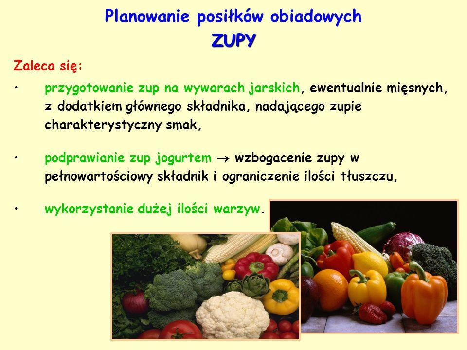 ZUPY Planowanie posiłków obiadowych ZUPY Zaleca się: przygotowanie zup na wywarach jarskich, ewentualnie mięsnych, z dodatkiem głównego składnika, nad