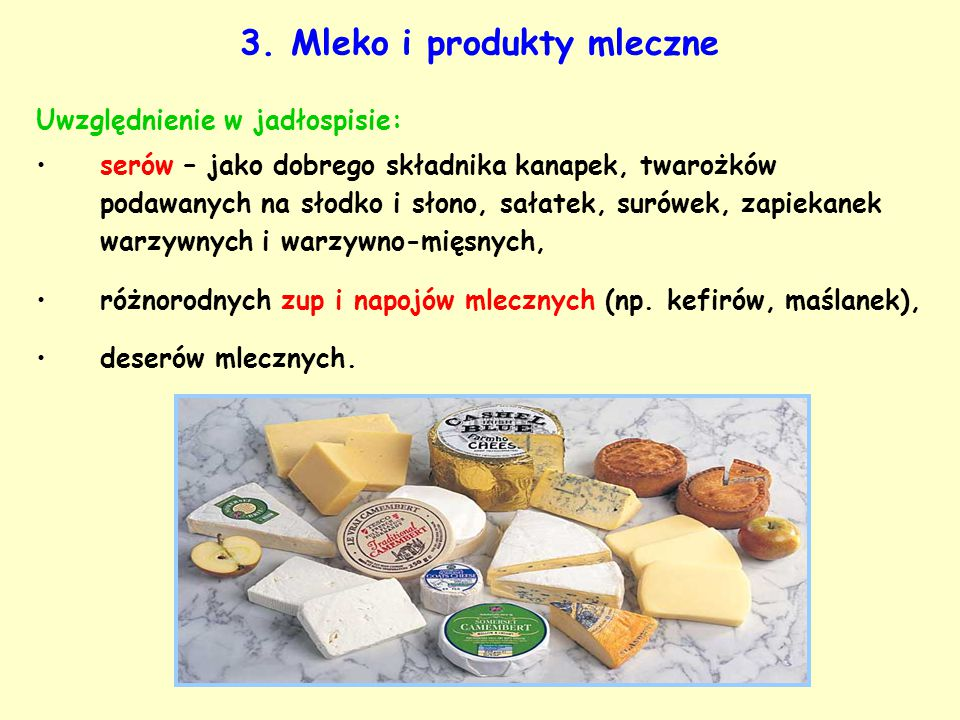 3. Mleko i produkty mleczne Uwzględnienie w jadłospisie: serów – jako dobrego składnika kanapek, twarożków podawanych na słodko i słono, sałatek, suró