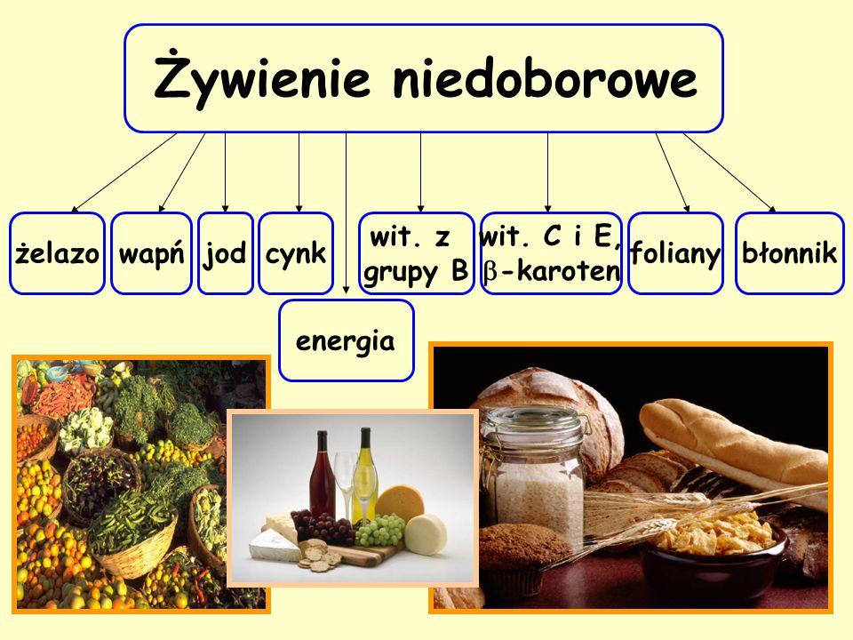 Żywienie niedoborowe żelazo foliany wit. z grupy B błonnik wit. C i E,  -karoten wapńjodcynk energia