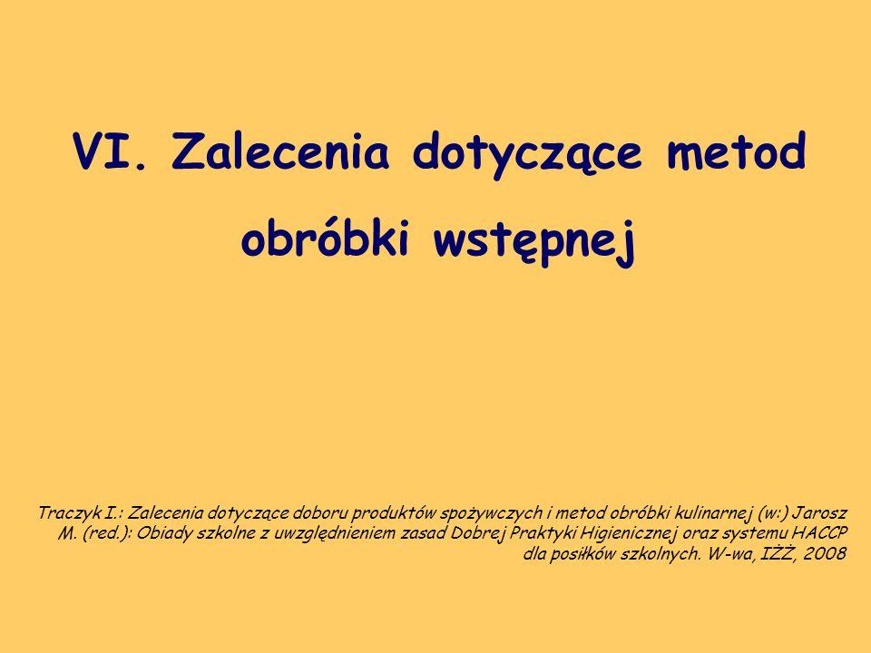 VI. Zalecenia dotyczące metod obróbki wstępnej Traczyk I.: Zalecenia dotyczące doboru produktów spożywczych i metod obróbki kulinarnej (w:) Jarosz M.