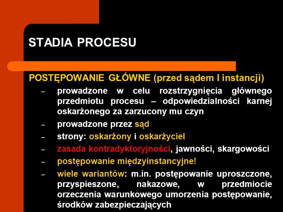 STADIA PROCESU POSTĘPOWANIE GŁÓWNE (przed sądem I instancji) – prowadzone w celu rozstrzygnięcia głównego przedmiotu procesu – odpowiedzialności karne