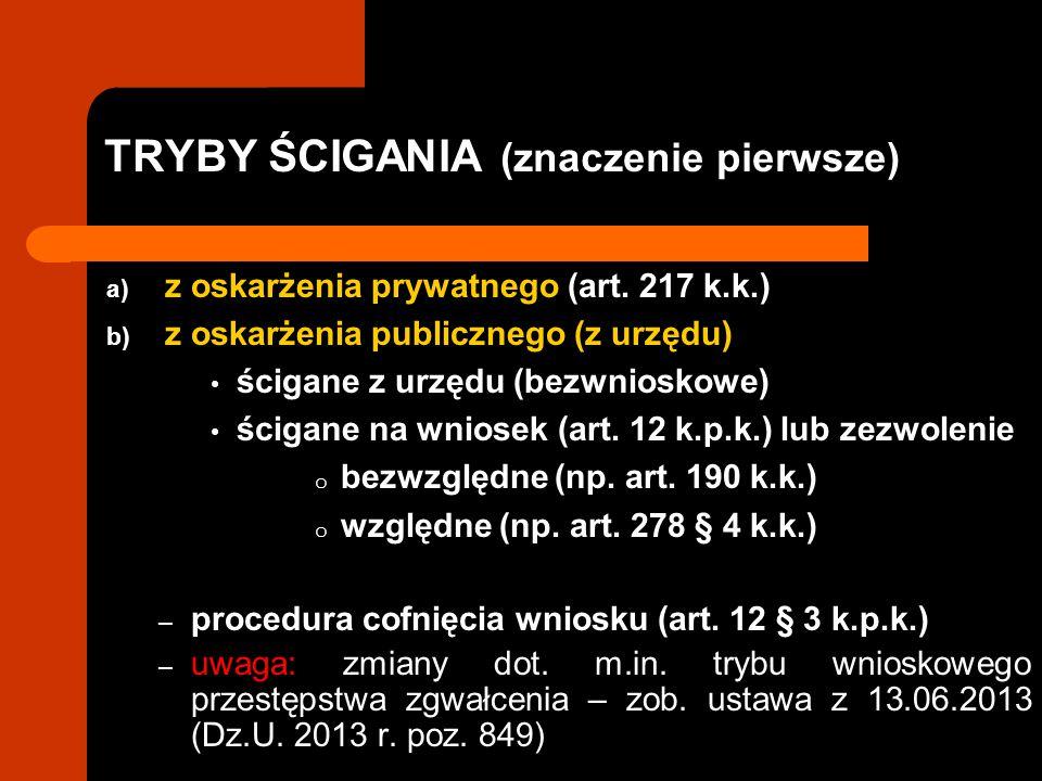 TRYBY ŚCIGANIA (znaczenie pierwsze) a) z oskarżenia prywatnego (art. 217 k.k.) b) z oskarżenia publicznego (z urzędu) ścigane z urzędu (bezwnioskowe)
