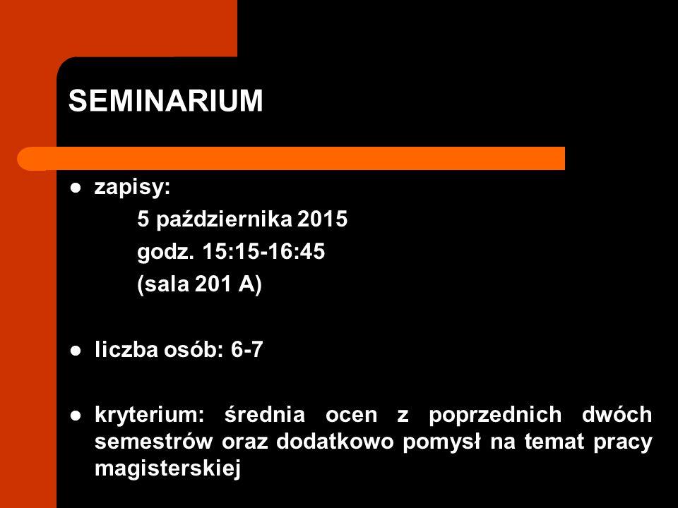 SEMINARIUM zapisy: 5 października 2015 godz.