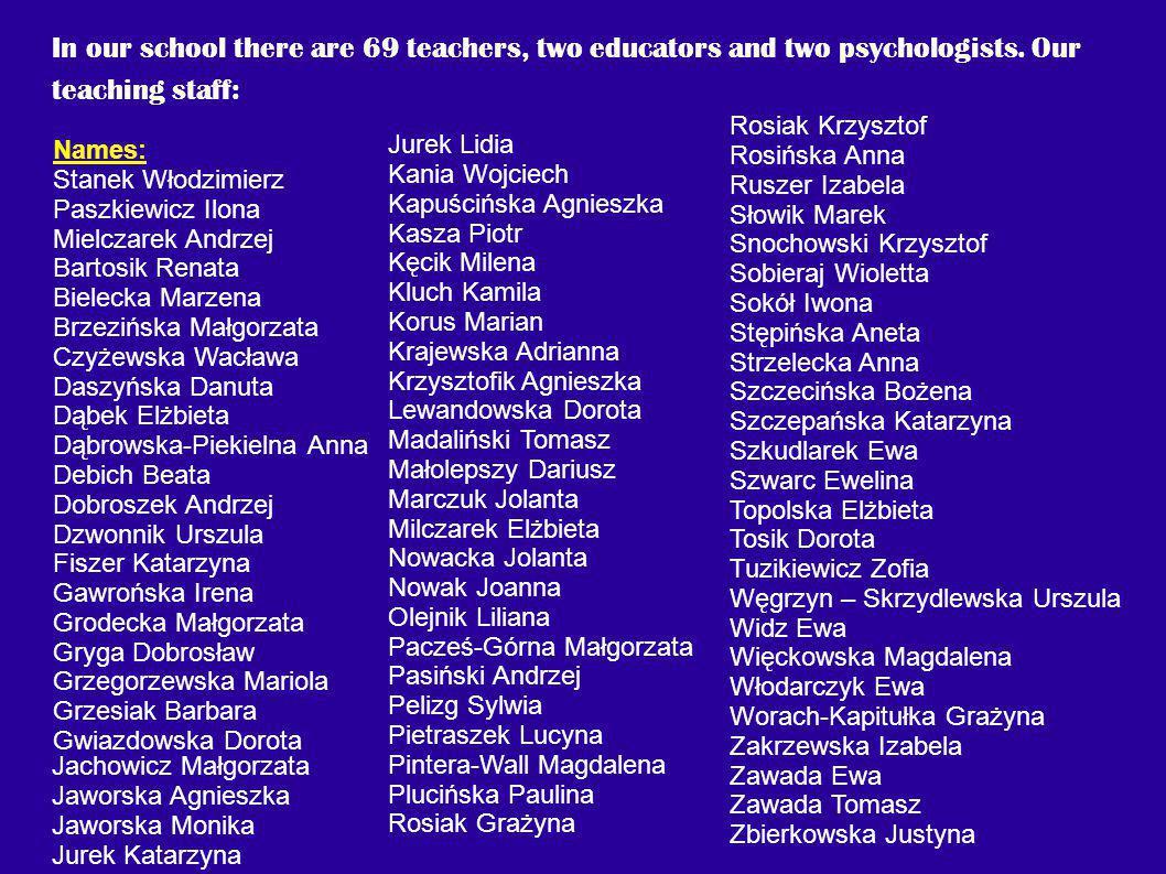 In our school there are 69 teachers, two educators and two psychologists. Our teaching staff: Names: Stanek Włodzimierz Paszkiewicz Ilona Mielczarek A