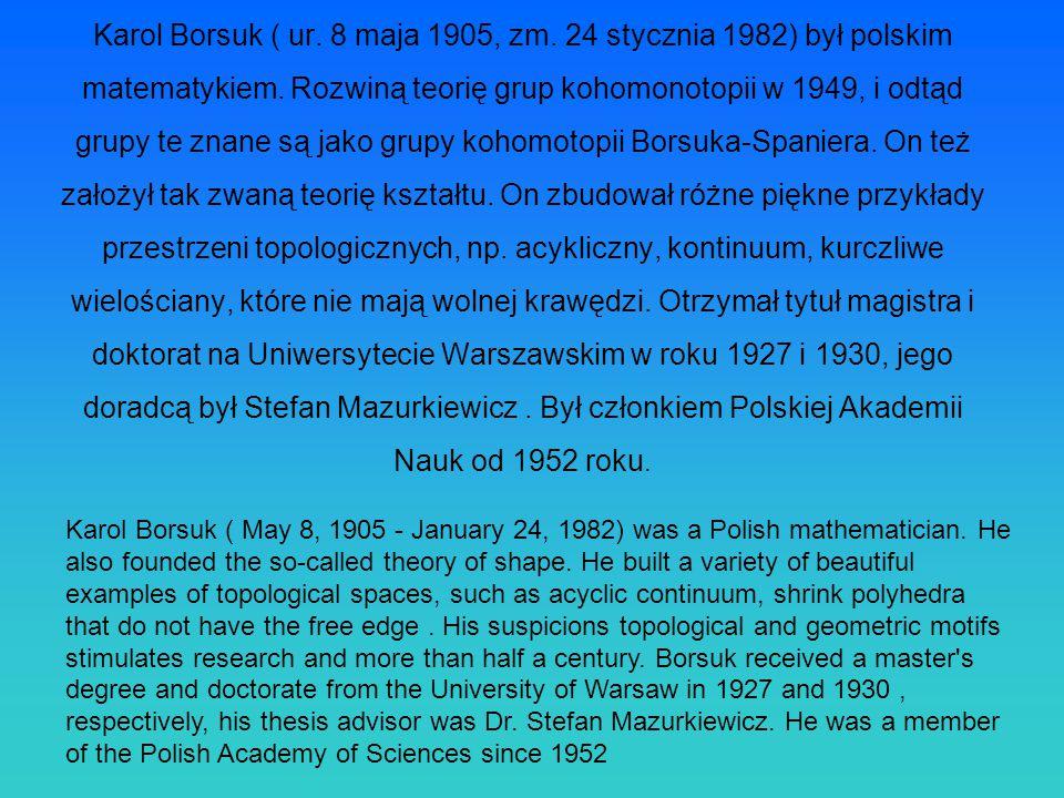 Karol Borsuk ( ur. 8 maja 1905, zm. 24 stycznia 1982) był polskim matematykiem. Rozwiną teorię grup kohomonotopii w 1949, i odtąd grupy te znane są ja
