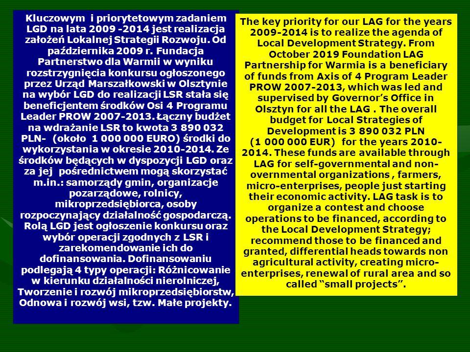Kluczowym i priorytetowym zadaniem LGD na lata 2009 -2014 jest realizacja założeń Lokalnej Strategii Rozwoju.