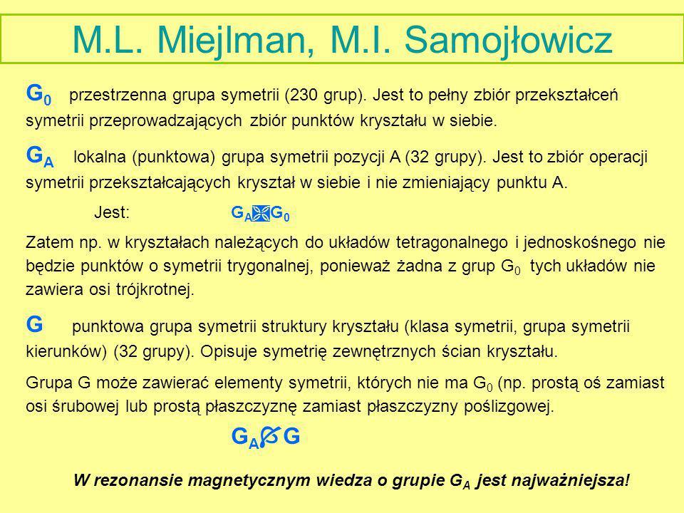 M.L. Miejlman, M.I. Samojłowicz G 0 przestrzenna grupa symetrii (230 grup). Jest to pełny zbiór przekształceń symetrii przeprowadzających zbiór punktó