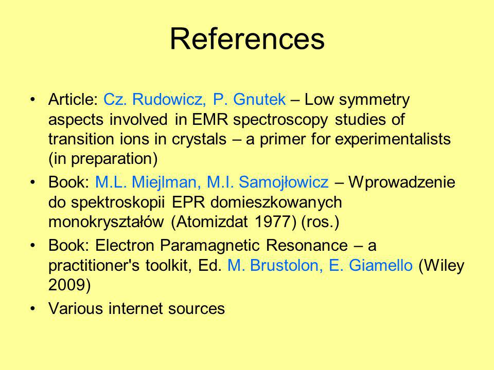 Outlook Crystallographic symmetries Symmetries in EMR Reference frames in EMR