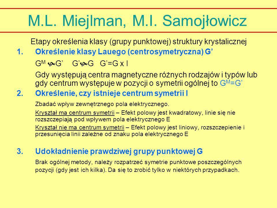 M.L. Miejlman, M.I. Samojłowicz Etapy określenia klasy (grupy punktowej) struktury krystalicznej 1.Określenie klasy Lauego (centrosymetryczna) G' G M