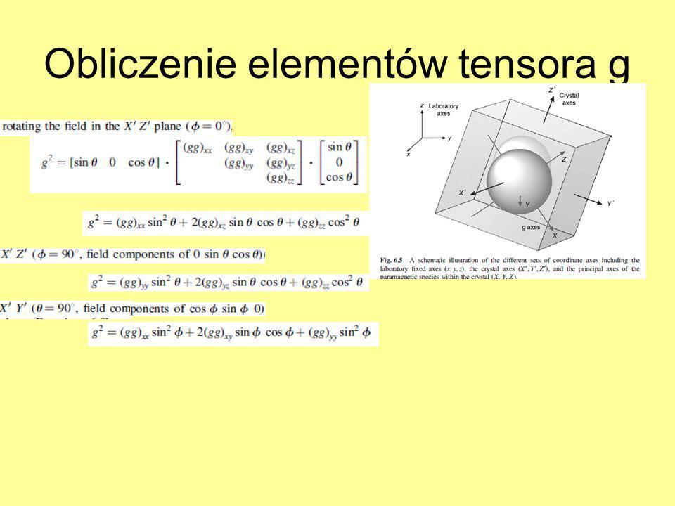 Obliczenie elementów tensora g