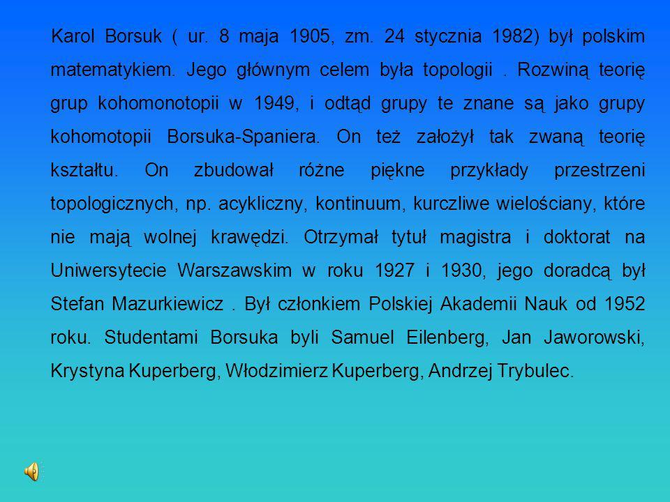 Karol Borsuk ( ur. 8 maja 1905, zm. 24 stycznia 1982) był polskim matematykiem. Jego głównym celem była topologii. Rozwiną teorię grup kohomonotopii w