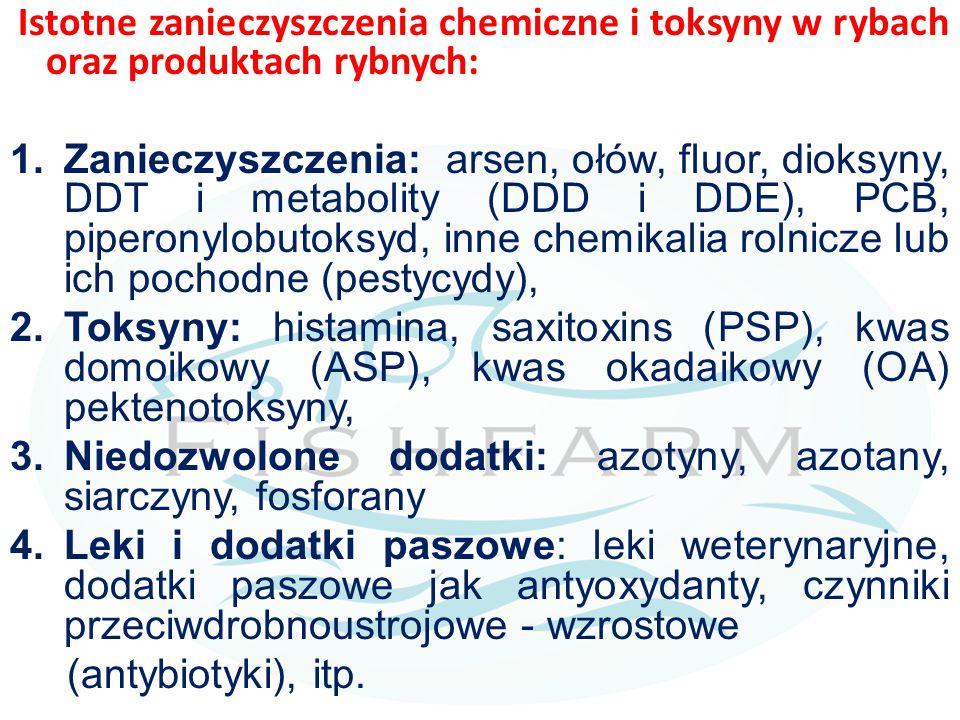 Istotne zanieczyszczenia chemiczne i toksyny w rybach oraz produktach rybnych: 1.Zanieczyszczenia: arsen, ołów, fluor, dioksyny, DDT i metabolity (DDD
