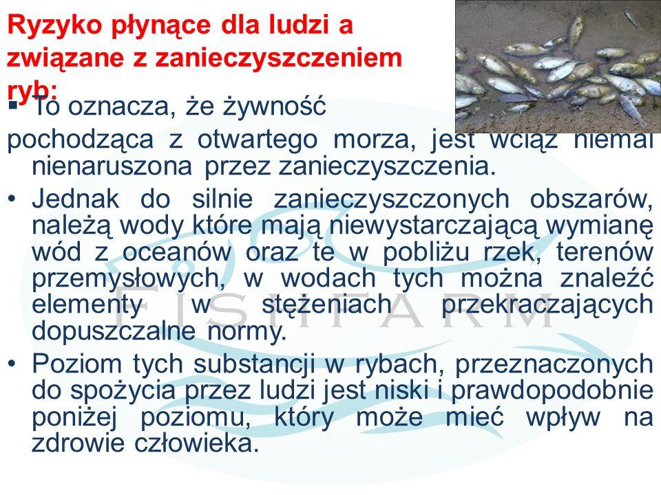 Ryzyko płynące dla ludzi a związane z zanieczyszczeniem ryb:  To oznacza, że  żywność pochodząca z otwartego morza, jest wciąż niemal nienaruszona
