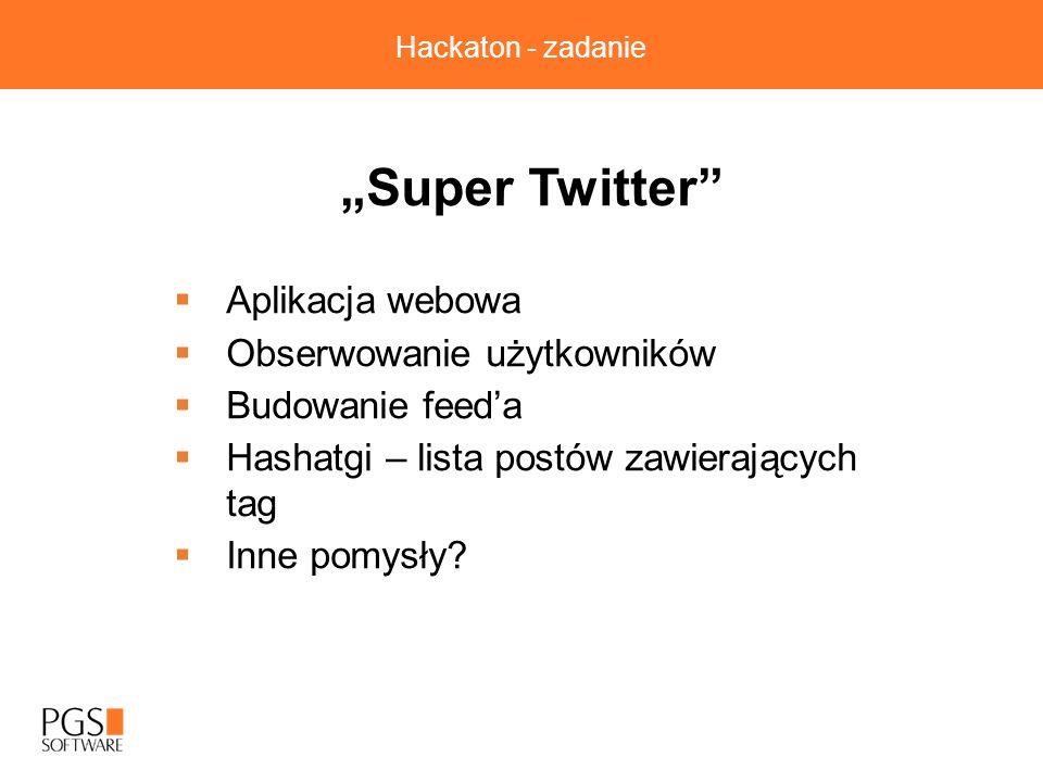 """Hackaton - zadanie """"Super Twitter  Aplikacja webowa  Obserwowanie użytkowników  Budowanie feed'a  Hashatgi – lista postów zawierających tag  Inne pomysły?"""