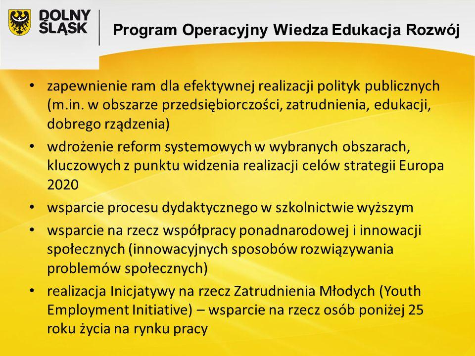 Program Operacyjny Wiedza Edukacja Rozwój zapewnienie ram dla efektywnej realizacji polityk publicznych (m.in. w obszarze przedsiębiorczości, zatrudni