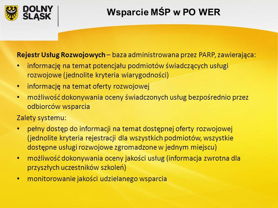 Wsparcie MŚP w PO WER Rejestr Usług Rozwojowych – baza administrowana przez PARP, zawierająca: informację na temat potencjału podmiotów świadczących u