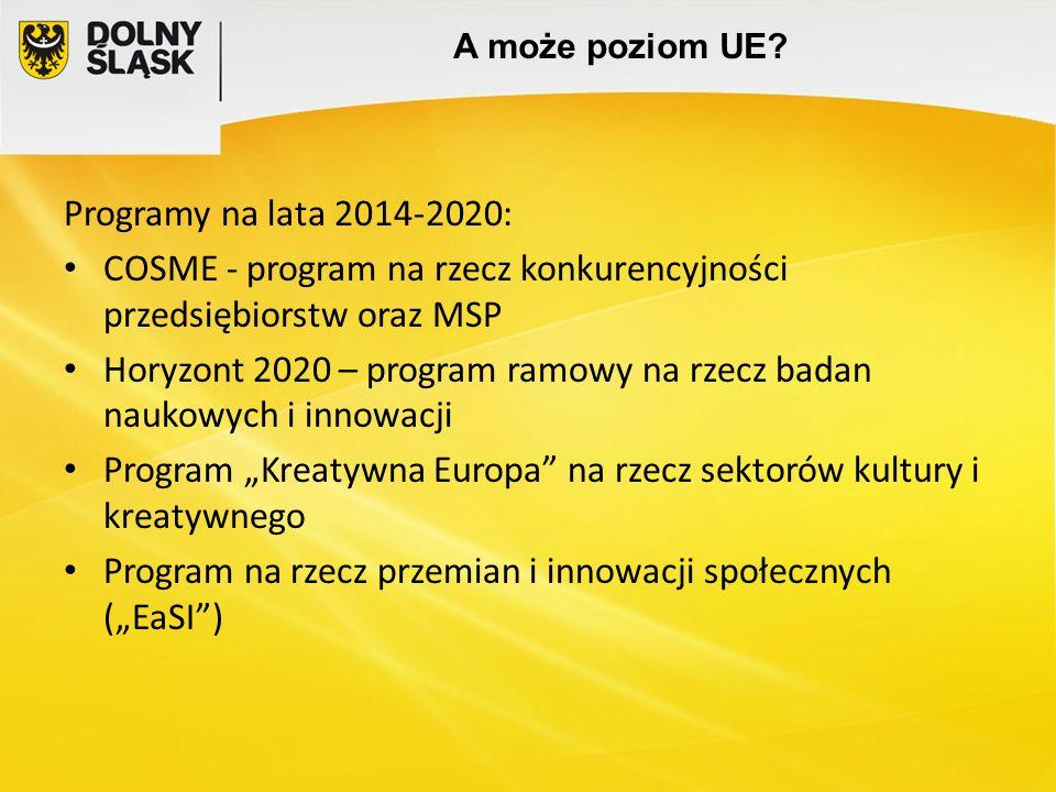 A może poziom UE? Programy na lata 2014-2020: COSME - program na rzecz konkurencyjności przedsiębiorstw oraz MSP Horyzont 2020 – program ramowy na rze