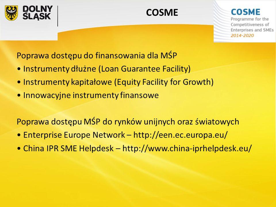 COSME Poprawa dostępu do finansowania dla MŚP Instrumenty dłużne (Loan Guarantee Facility) Instrumenty kapitałowe (Equity Facility for Growth) Innowac