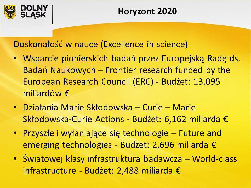 Horyzont 2020 Doskonałość w nauce (Excellence in science) Wsparcie pionierskich badań przez Europejską Radę ds. Badań Naukowych – Frontier research fu