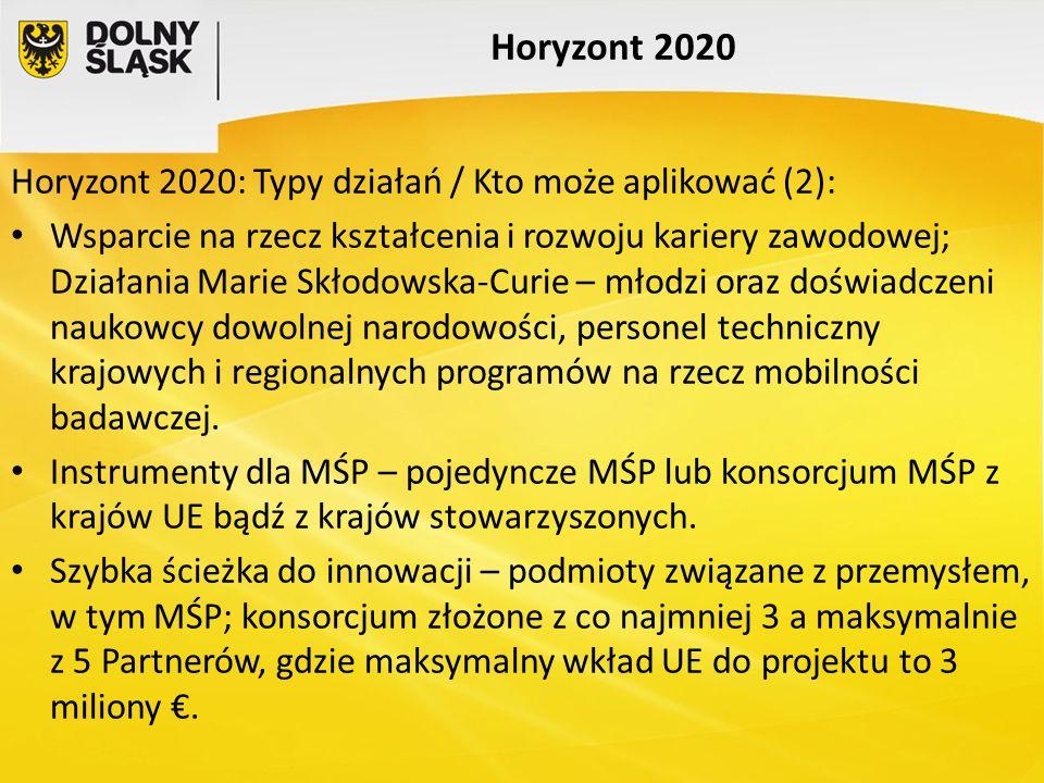 Horyzont 2020 Horyzont 2020: Typy działań / Kto może aplikować (2): Wsparcie na rzecz kształcenia i rozwoju kariery zawodowej; Działania Marie Skłodow
