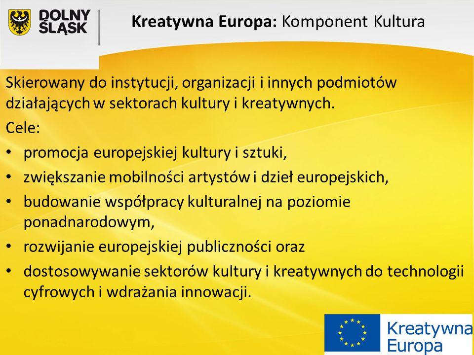 Kreatywna Europa: Komponent Kultura Skierowany do instytucji, organizacji i innych podmiotów działających w sektorach kultury i kreatywnych. Cele: pro
