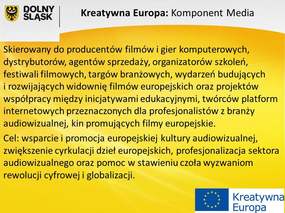 Kreatywna Europa: Komponent Media Skierowany do producentów filmów i gier komputerowych, dystrybutorów, agentów sprzedaży, organizatorów szkoleń, fest